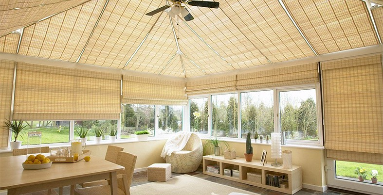 Woven Wood Pinoleum Blinds in Conservatory